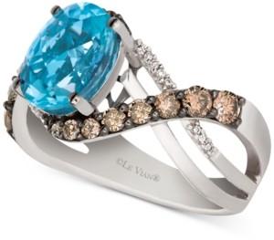LeVian Le Vian Sky Blue Topaz (2-9/10 ct. t.w.) & Diamond (2/3 ct. t.w.) Swirl Ring in 14k White Gold