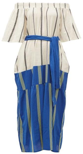 Ace&Jig Casa Contrast Panel Striped Cotton Dress - Womens - Blue