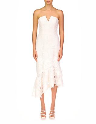 Theia Mila Strapless Asymmetric Lace Dress