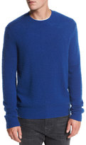 Vince Textured Wool-Cashmere Crewneck Sweater, Cobalt