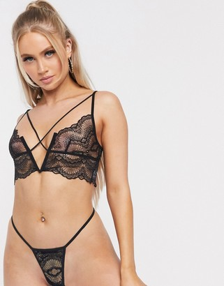 Love & Other Things sexy lace plunge bralette & thong set in black