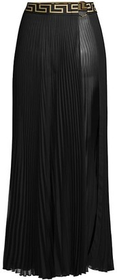 Versace Greca Long Pleated Skirt