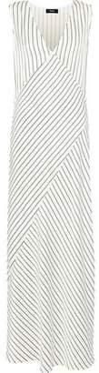 Theory Striped Satin-jacquard Maxi Dress