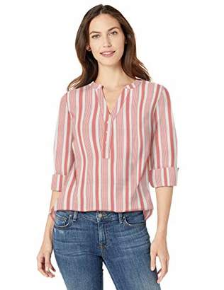 Amazon Essentials Long-sleeve Cotton Popover Shirt Button, Red Frond, US XXL (EU 3XL-4XL)