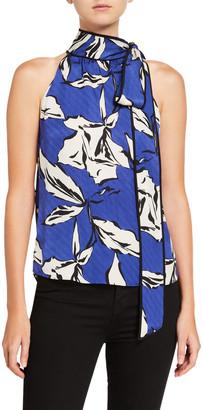 Veronica Beard Sela Printed Tie-Neck Top