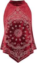 Free People Embroidered bandana bling top in wine