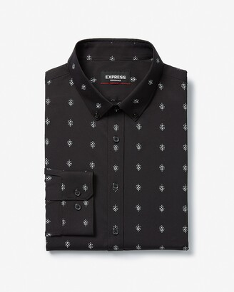 Express Extra Slim Printed Button-Down Wrinkle-Resistant Performance Dress Shirt