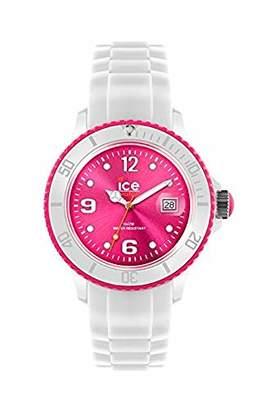 Ice Watch Ice-Watch - Ice White White Fluo pink - Men's (Unisex) Wristwatch with Silicon Strap - 013821 (Medium)