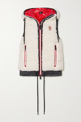 MONCLER GRENOBLE Maglia Hooded Shell-trimmed Faux Shearling Down Vest - White