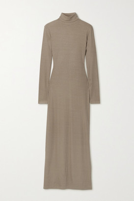 Ninety Percent + Net Sustain Ribbed Stretch-tencel Jersey Turtleneck Maxi Dress - Mushroom