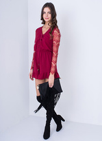 Missy Empire Rosemarie Wine Lace Up Playsuit