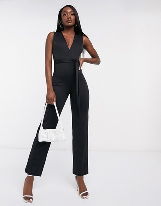 Flounce London Club plunge neck belted jumpsuit in black
