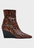 Aeyde Women's Lena Snake Print Wedge Boot in Tangerine Snake, Size 36 | Leather