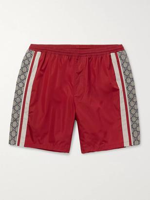 Gucci Wide-Leg Long-Length Striped Logo-Print Swim Shorts