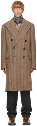 Dries Van Noten Brown Wool and Alpaca Double-Breasted Coat