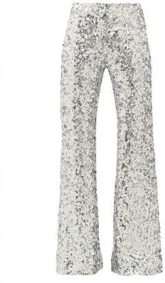 Halpern Sequinned Kick-flare Trousers - Womens - Silver