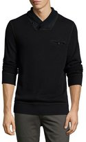 Billy Reid Piqué Shawl-Collar Pullover, Black