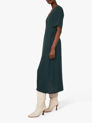 Warehouse Wrap Midi Dress, Dark Green