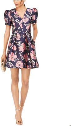Vince Camuto Floral Jacquard Fit & Flare Dress