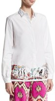 Etro Embroidered-Hem Cotton Blouse, White