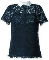 MICHAEL Michael Kors short sleeve lace blouse - women - Cotton/Nylon/Polyester/Viscose - XS