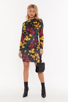 Nasty Gal Womens You Better Be-Leaf Me Floral Midi Dress - Black - S, Black