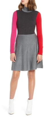 Brinker & Eliza Colorblock Long Sleeve Fit & Flare Sweater Dress