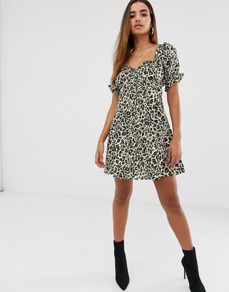 Asos DESIGN sweetheart mini dress in leopard print