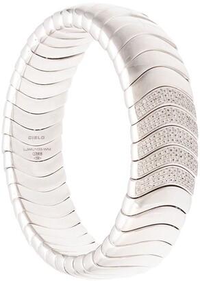 Mattia Cielo 18kt white gold Universo diamond stretch bangle