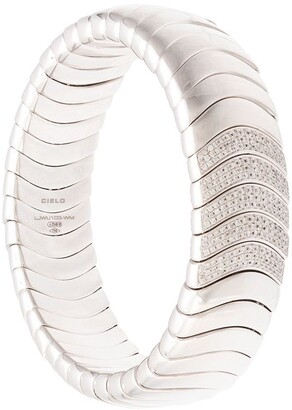 Mattia Cielo 18kt white gold Universo diamond stretch bangle