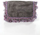 Ambre Babzoe Gray Multi-Colored Suede Woven Jeweled Fringe Trim Single Strap Sho