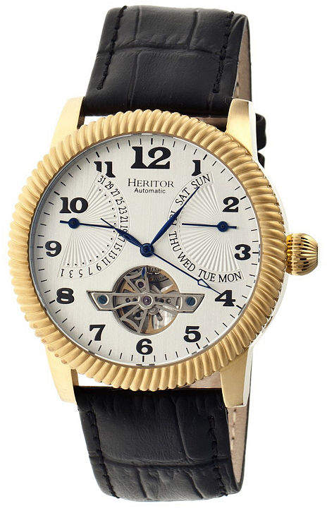 Heritor Automatic Piccard Mens Semi-Skeleton Leather Date-Gold/Silver Watches