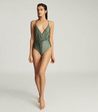 Reiss Lara - Cutwork Trim Swimsuit in Khaki