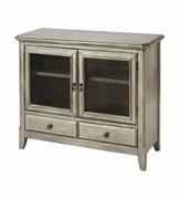 Aurelio 2-door 2-drawer Cabinet In Antique Silver Leaf Gracie Oaks