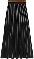 Roksanda Asago Ribbed Striped Stretch-knit Midi Skirt - Black