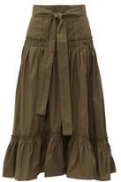 Proenza Schouler Tiered Cotton-poplin Midi Skirt - Womens - Dark Green