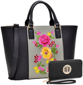 Black Floral Tote & Wristlet