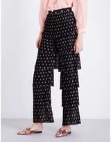 Vilshenko Blyeta floral tiered silk-georgette trousers