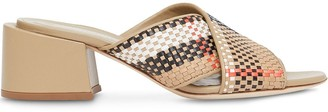 Burberry Woven-Effect Block Heel Sandals