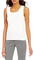 Kasper Square Neck Sleeveless Solid Knit Tank