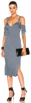 Victoria Beckham Bicolor Rib High Slit Dress in Blue.