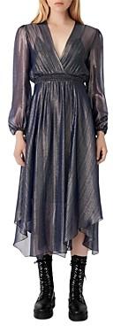 Maje Ruit Metallic Midi Dress