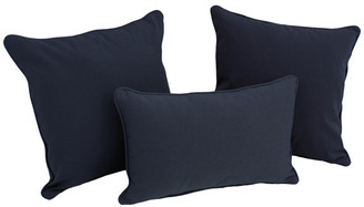 Blazing Needles Solid Twill Throw Pillows with Inserts, Set of 3,, Navy