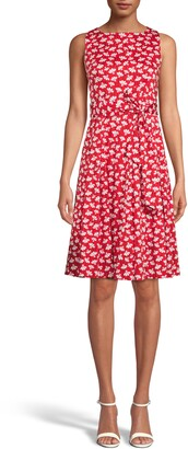 Anne Klein Floral Print Fit & Flare Dress