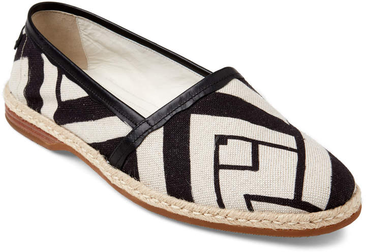 Dolce & Gabbana Beige & Black Geometric Linen Slip-On Espadrilles