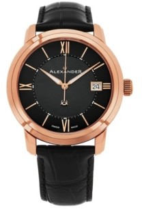 Stuhrling Original Alexander Watch A111-05, Stainless Steel Rose Gold Tone Case on Black Embossed Genuine Leather Strap
