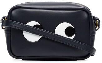 Anya Hindmarch black and white mini eyes leather crossbody bag