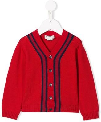 Gucci Kids Front Stripes Cardigan