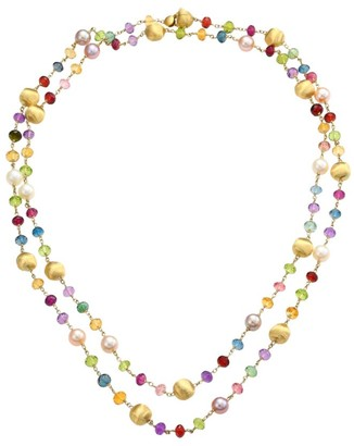 Marco Bicego Africa 18K Yellow Gold Mixed Gemstone & Round Pearl Long Strand Necklace