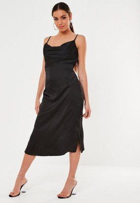 Missguided Black Satin Cowl Cami Slip Midi Dress